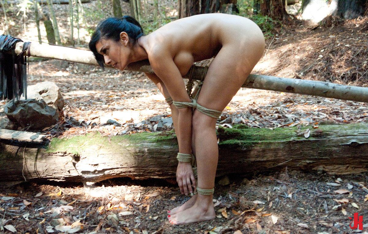 Nude girl fucked against tree